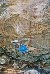 Justin Jaeger climbs the First Ascent Of Tastes Like Burning V9 Photo: Jaeger Collection